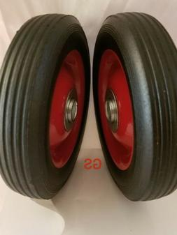 """2pc 6"""" Replacement Solid Hard Rubber Tire Wheel or Dolly Han"""
